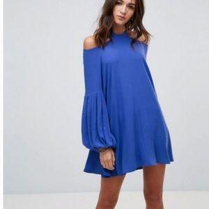 Free People Cold Shoulder Tunic Dress Mini Blue XS